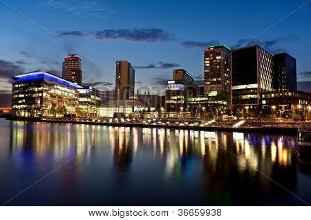 Media City on Salford Quays in Manchester poster