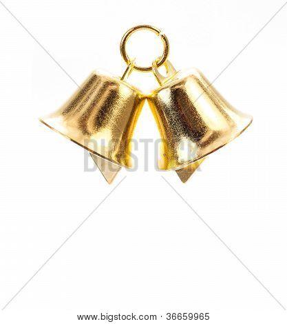 Golden Bell On White Background