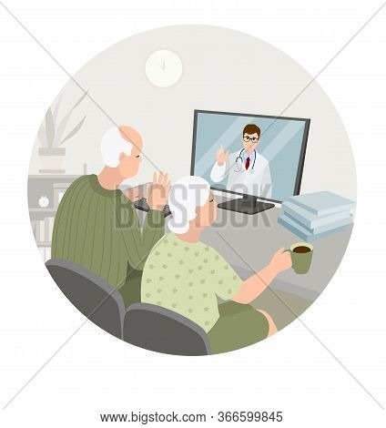 Elderly Couple Sit At Home Having Online Consultation With Doctor On Computer. Sick Senior Man And W