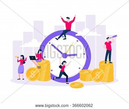 Time Is Money. Save Time Business Concept Flat Style Vector Illustration Isolated On White Backgroun
