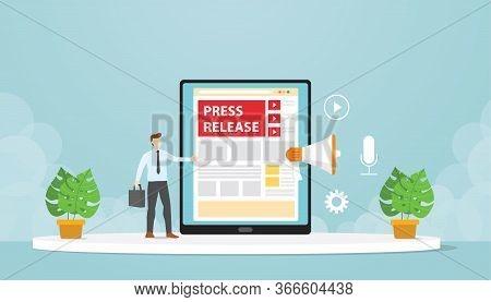 Public Relations Make Press Releases Through Company Blogs. Modern Flat Cartoon Design Vector Illust