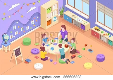 Isometric Vector Kindergarten Room Where Kids Play With Teacher. Woman Teaching Children Count And R