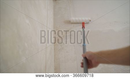 Stucco Walls With A Building Roller. Preparation Of Walls For Painting Or Wallpapering, Priming With
