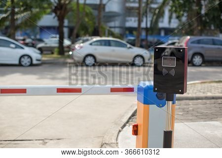 Car Park Automatic Entry System.security System For Building Access - Barrier Gate Stop With Toll Bo