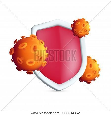 The Red Antibacterial Shield Protects Against Germs Or Virus Cells. Epidemic Concept Vector Illustra