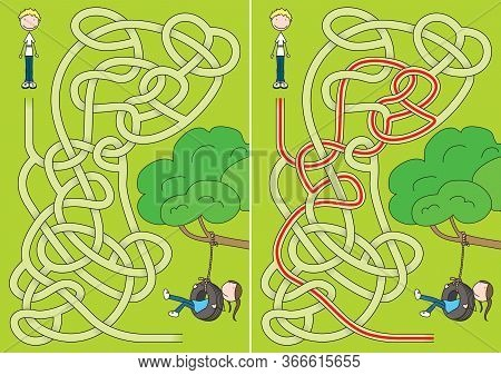 Tyre Swing Maze For Kids With A Solution