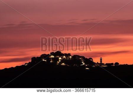 Evening Lights In Village Of Sant'antonino In Corsica