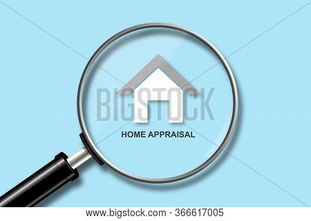 Home Appraisal Concept. View Through A Magnifying Glass On The House Icon On A Blue Background. Valu