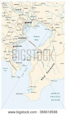 Road Vector Map Of The Bay Of Tokyo Metropolitan Area On The Pacific Coast