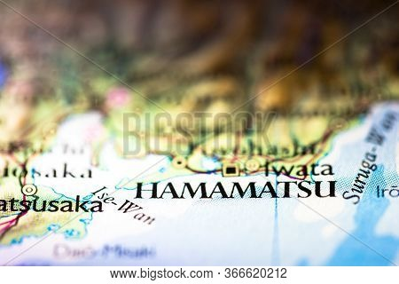Shallow Depth Of Field Focus On Geographical Map Location Of Hamamatsu City In Honshu Island Japan A