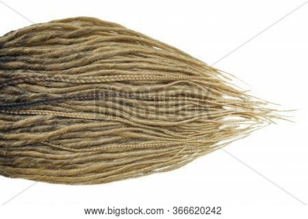 Dreadlocks Are Laid Out On A White Background And Taper To The Ends. Blonde Braids On A White Backgr