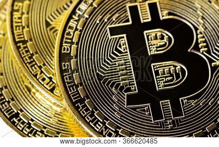 Crypto Currency Closeup Golden Bitcoins. Photo Virtual Money.blockchain Technology, Bitcoin Mining C