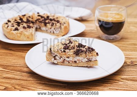 Homemade Sweet Cake With Ricotta, Crumbs And Chocolate, Italian Sbriciolata Crumb Pie On Wooden Tabl