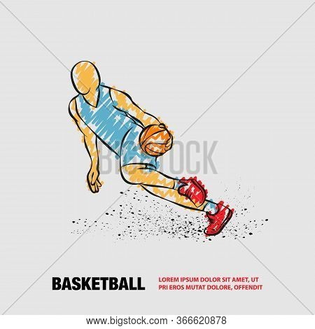 Basketball Player Dribbling With A Ball. Vector Outline Of Basketball Player With Scribble Doodles S