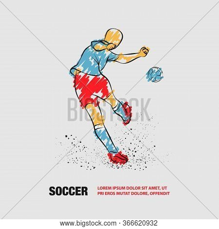 Soccer Player Kicks The Ball. Back View. Vector Outline Of Soccer Player With Scribble Doodles Style