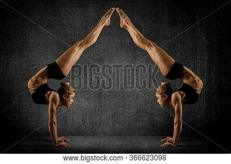 Sport Women Stand On Hands, Young Gymnasts Girls Doing Handstand, Upside Down Gymnastics