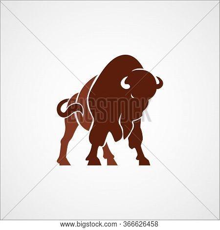 Aggressive Bison Buffalo Logo Sign Emblem Isolated Vector Illustration