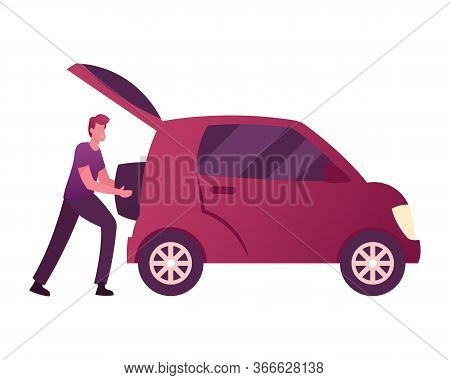 Male Character Put Luggage Into Auto Trunk. Man Use Car Sharing Service For Transportation In City.