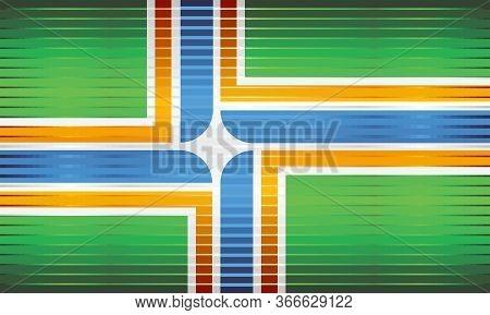 Shiny Grunge Flag Of The Portland - Illustration,  Three Dimensional Flag Of Portland