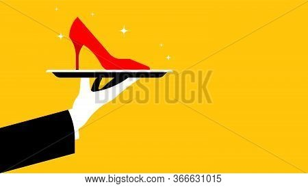 Buying Shoes. Cinderella's Syndrome. Red High-heeled Shoe On A Tray. The Concept Of A Gift, Surprise