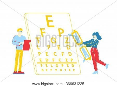 Myopia Or Nearsightedness Diseases Of Eye And Optical System. Sad Male Character With Tablet Pc In H