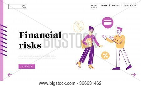 Man Take Money Credit At Micro Finance Organization Landing Page Template. Male Character Speak With
