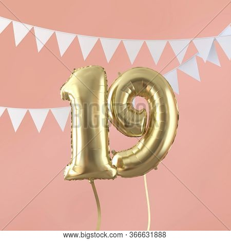 Happy 19th Birthday Party Celebration Gold Balloon And Bunting. 3d Render