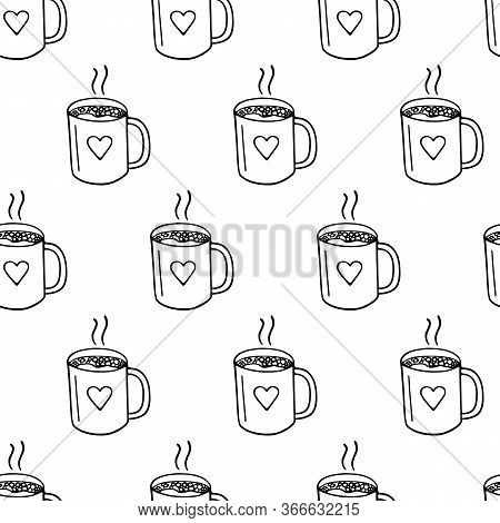 Large Mug Of Coffee Or Cocoa Hand-drawn. Vector Seamless Doodle Pattern On White Background. Design