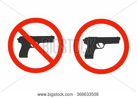 No Weapon, No Gun, Stop Symbol Icon Or No Firearm Isolated On White Background. Vector Illustration