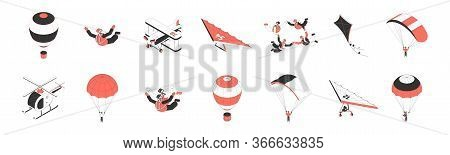 Air Tourism Isometric Icons Set With People Doing Parachuting Hang Gliding Flying Plane 3d Isolated
