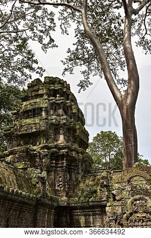 Siem Reap, Cambodia. September 12, 2019. Monument To One Of The Temples Of Siem Reap In Cambodia. Th