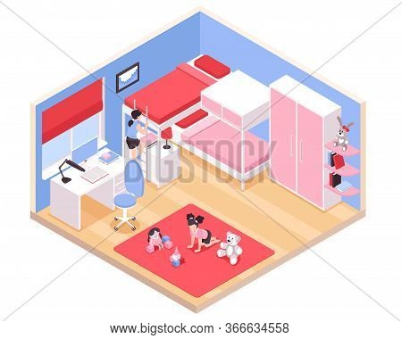 Children Girls Room Interior Isometric View With Red Carpet Bunk Bed Pink Wardrobe Closet Desk Toys