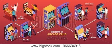 Retro Arcade Coin Operated Mechanical Pinball Redemption Video Game Machines Club Horizontal Isometr
