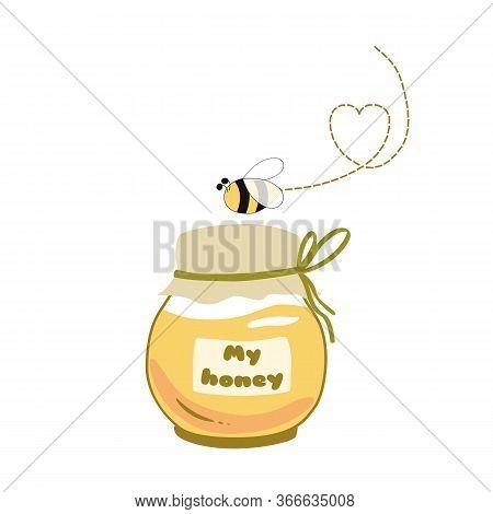 Honey Jar Logo Honey Pot Bee Text My Honey Icon Sticker Logo Hand Drawn Varieties Illustration