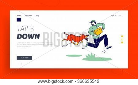 Danger Of Mailman Work Landing Page Template. Delivery Man Character With Parcel In Hands Run Away O