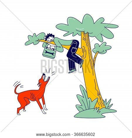 Scared Handyman With Toolbox In Hands Sitting On Tree Avoiding Dog Attack. Angry Animal Barking And