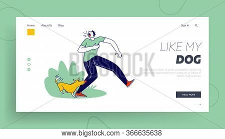 Social Problem Of Mad Homeless Pets Landing Page Template. Aggressive Dog Biting Man Leg. Male Chara