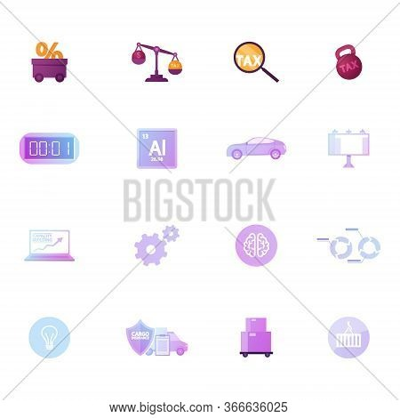 Set Icons Trolley With Percent, Scales With Dollar And Tax, Magnifier And Dumbbell. Alarm Clock, Alu