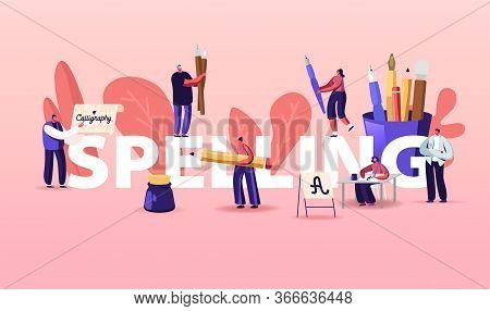People Characters Spelling Concept. Writing Letters, Script, Creative Hobby Recreation. Woman Sittin