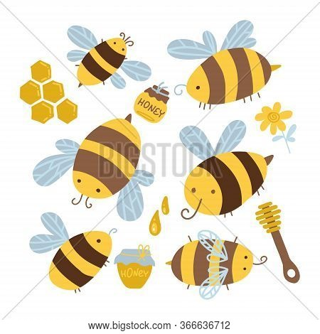 Many Characters Of Cute Yellow And Black Bees. Set If Honeybee, Honeycomb, Wooden Spoon, Flower, Dro