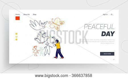Childhood, Happiness Landing Page Template. Little Boy Drawing Doves With Branch And Happy Family. C