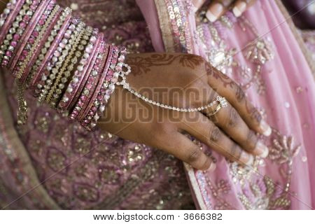 Bride'S Hand With Henna Tattoo, Indian Wedding