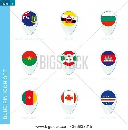 Pin Flag Set, Map Location Icon In Blue Colors With Flag Of British Virgin Islands, Brunei, Bulgaria
