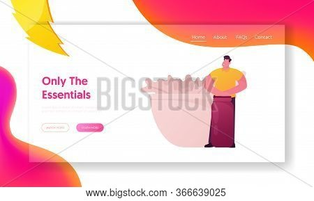 Seasoning And For Herbal Aroma Therapy Landing Page Template. Male Character Hold Huge Flask Stand A