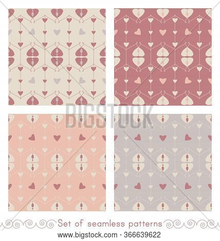 Set Of Seamless Patterns With Hearts And Little Hearts. Color Orange, Grey, Red And Cream Ivory. Pas