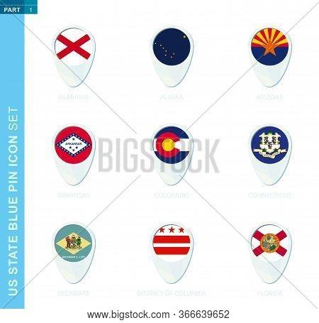 Pin Flag Set, Map Location Icon In Blue Colors With Usa State Flag Of Alabama, Alaska, Arizona, Arka