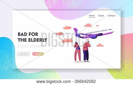 Characters Suffering Of Noise Pollution Landing Page Template. Big City Stress, Dwellers Covering Ea