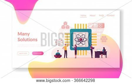 Quantum Computing Landing Page Template. Optical Technology, Photonics Research. Tiny Characters Eng