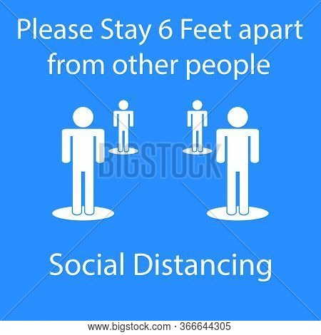 Icon People Concept Social Distancing Stay 6 Feet Apart From Other People, The Practices Put In Plac