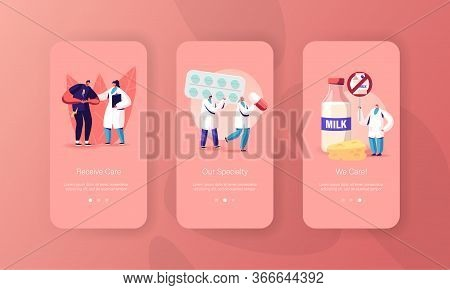 Lactose And Milk Intolerance Mobile App Page Onboard Screen Template. Man Feel Bad In Stomach Visit